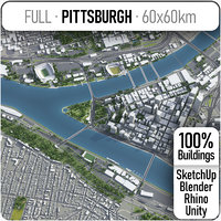 3D city pittsburgh surrounding area model