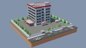 hospital landmark 3D model