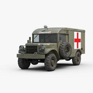 dodge m43 military ambulance 3D model