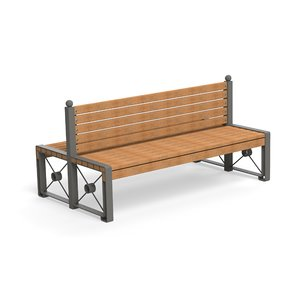 bench double 3D model