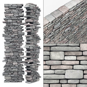 brick stone granite 3D model
