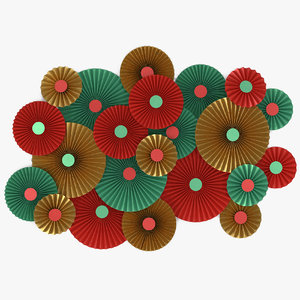 3D green red gold paper model