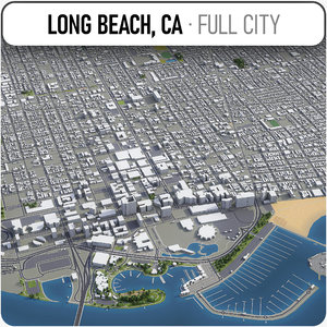 long beach surrounding - 3D model