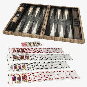 3D model gaming card backgammon