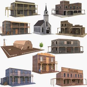 3D model western buildings house 3