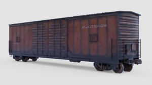 3D pbr boxcar - railroad model