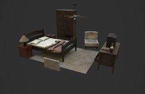 bedroom furniture bed closet 3D model