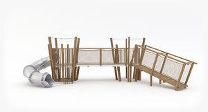 3D wooden slide bridge playground