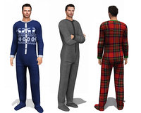 Men's Footed Onesie Loungewear 5 Textures