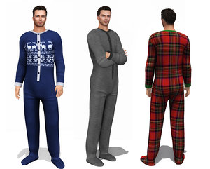 3D mens footed onesie loungewear