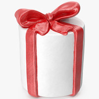 gift box cylindrical 3 3D model