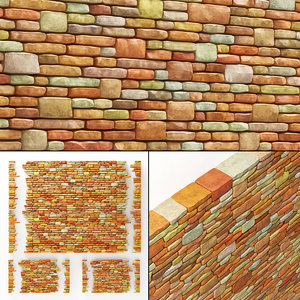brick stone granite model