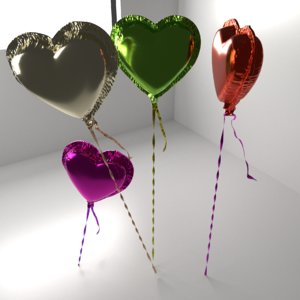 3D random color heart shape