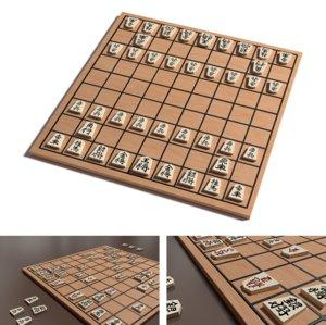 shogi board chess 3D model