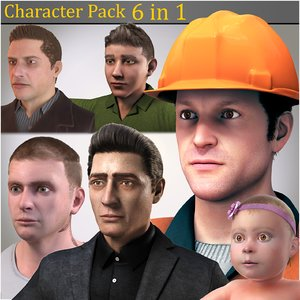 3D model 6 1 character pack