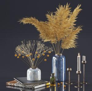 3D dry plant decor set model