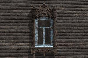 3D window wooden platband