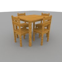 wood table chairs furniture 3D model