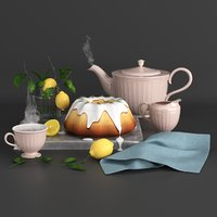 Food set lemon cake