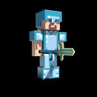 3D steve diamond armor