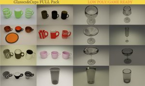 3D model wine glass cup coffee