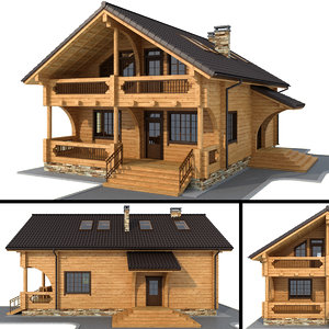 3D log house - rounded