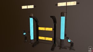 3D industrial lamps model