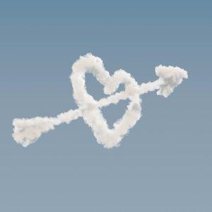arrowed heart cloud - 3D model