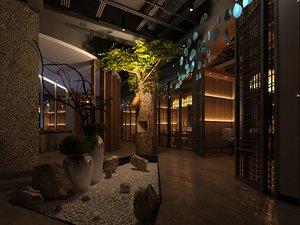 3D asian restaurant model