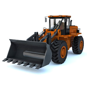 3D model construction loader orange