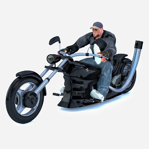 3D model man sitting chopper
