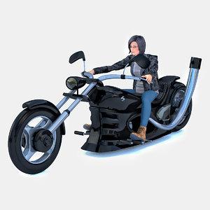 woman sitting chopper 3D model