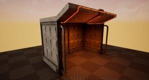 futuristic bus stop architectural 3D
