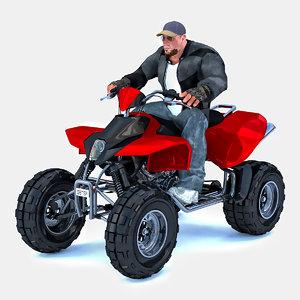 man sitting atv 3D