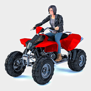 3D woman sitting atv