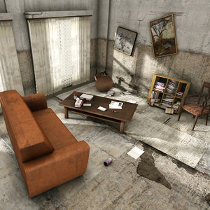 3D abandoned room interior
