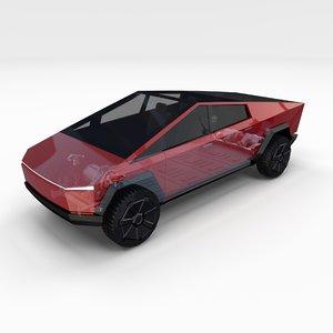 tesla cybertruck chassis 3D model