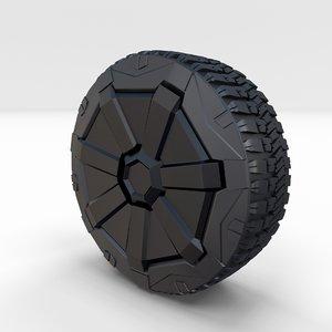 3D tesla cybertruck wheel