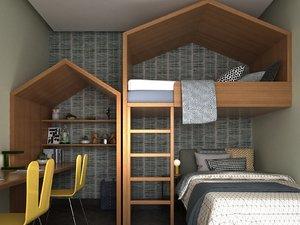 child room bunk beds 3D model