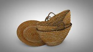 3D leaves basket palm leafe