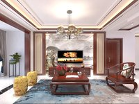 living room dining chinese 3D model
