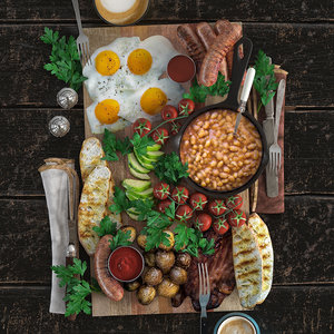 3D english breakfast platter foods model