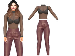 body sheer maroon shiny 3D model