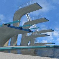 3D scene swimming pool diving model