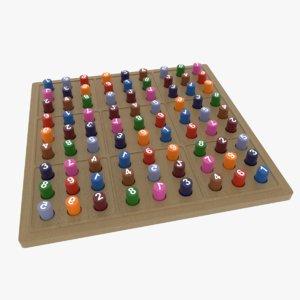 3D sudoku puzzle board model