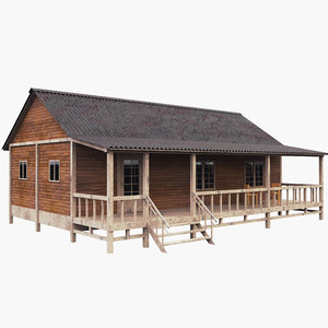 3D house old wooden