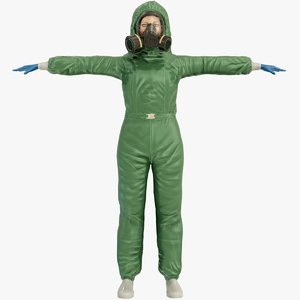 hazmat suit female worker 3D model