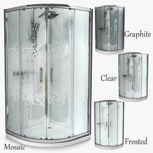 3D semi-circular shower cabins invena