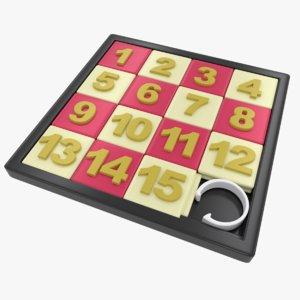 3D model number slide puzzle toy