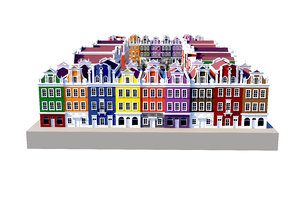 3D old european architecture house
